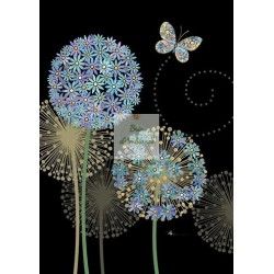 Carte double BUGART - Alliums bleus