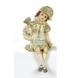 Figurine assise - Fillette portant une couronne