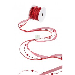 Ruban triple rouge - Perles, satin et organza