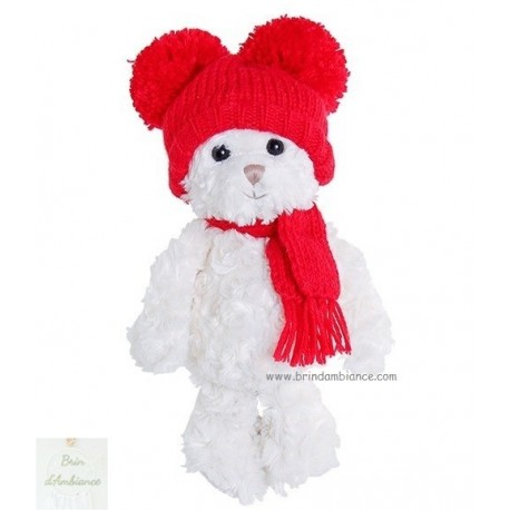 Peluche Bukowski - Ourson Sweet Julian - Bonnet rouge