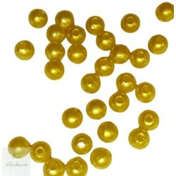 Perles jaunes - Diam 8mm - Lot de 10