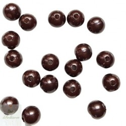 Perles marrons - Diam 10mm - Lot de 10