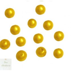 Perles jaunes - Diam 10mm - Lot de 10
