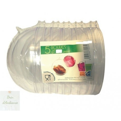 Lot de 5 boules cristal transparent 70mm