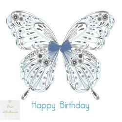 "Carte anniversaire Happy Birthday ""Papillon et ruban bleu"